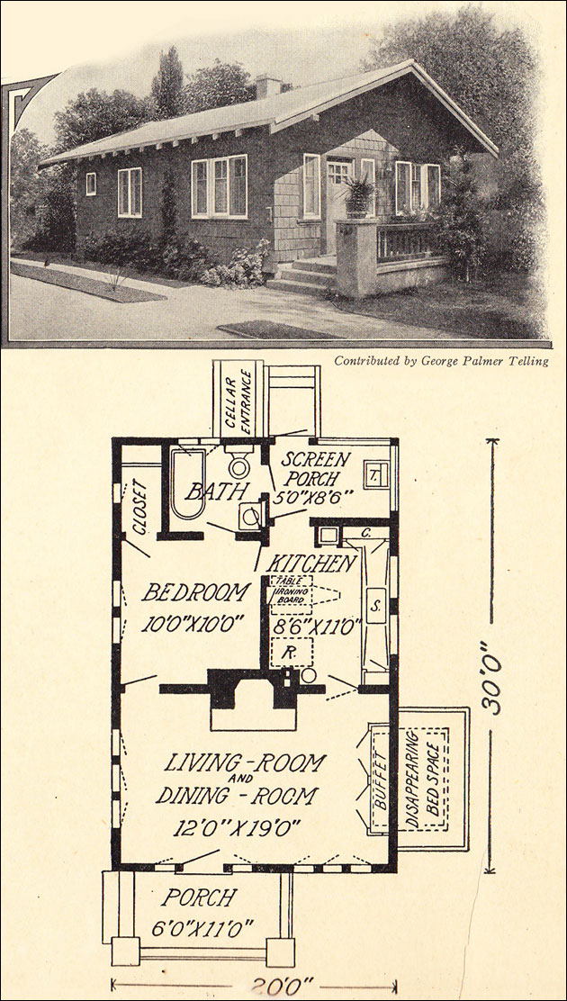 1914 tiny cottage bungalow 600 sq ft george palmer for Vintage bungalow house plans