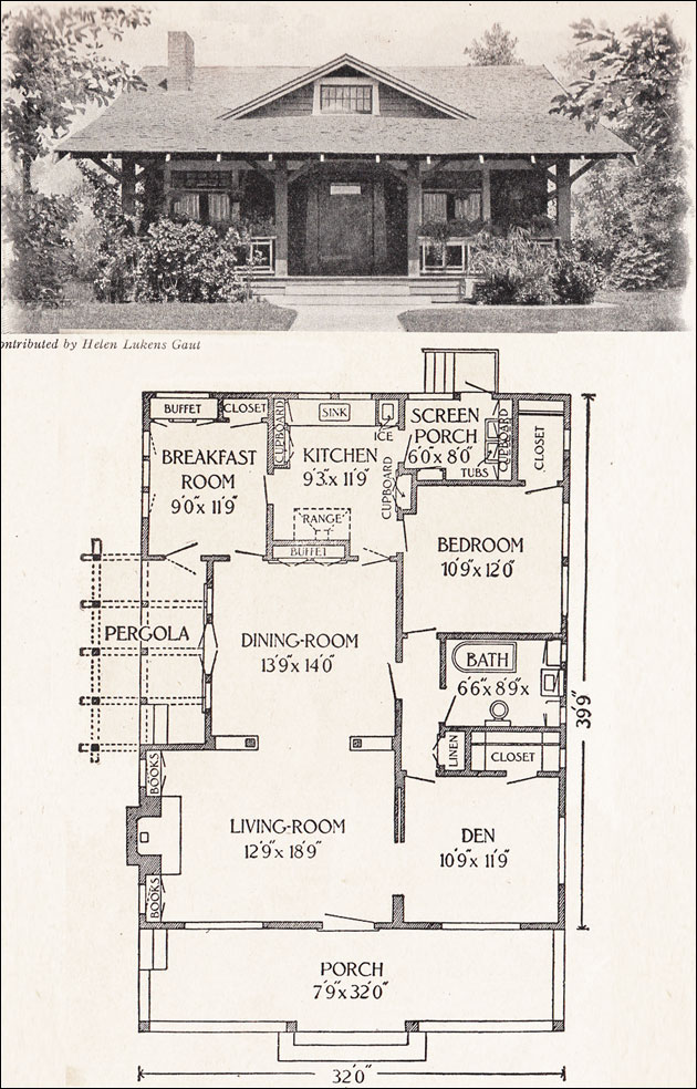 1916 california bungalow 1200 sq ft helen lukens for Classic house plans