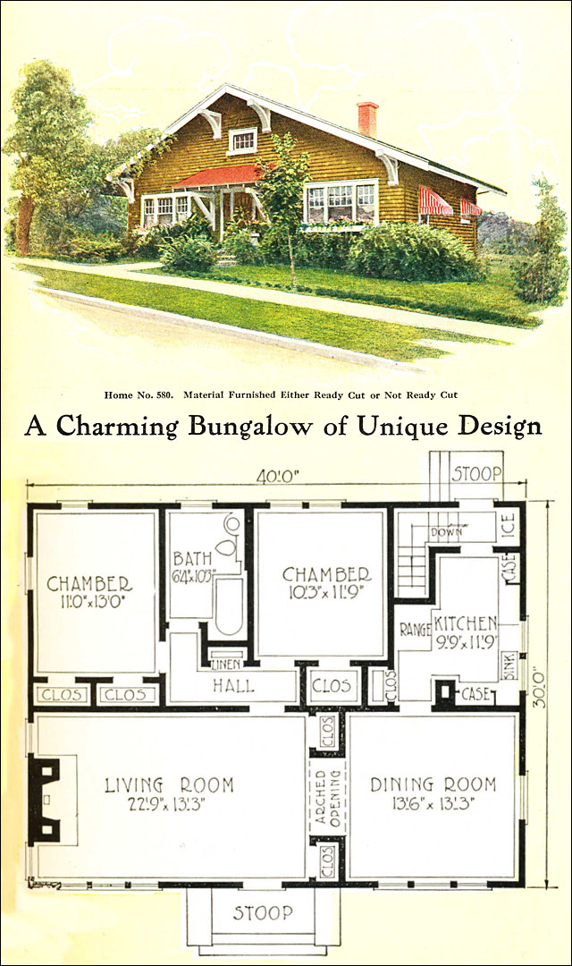 1918 gordon van tine no 580 craftsman style bungalow for Vintage bungalow house plans