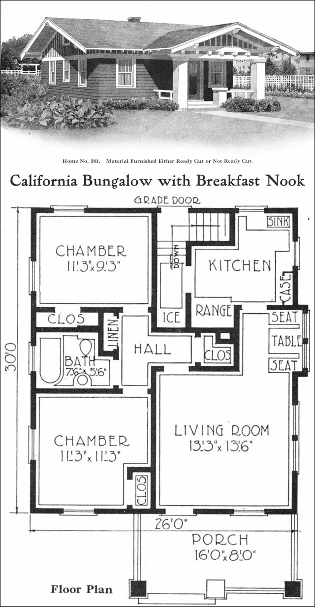 California-style Bungalow - Vintage small house plans - 780 sq. ft ...
