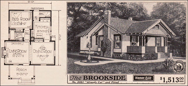 Vintage small house plans 1923 sears brookside for Small craftsman home plans
