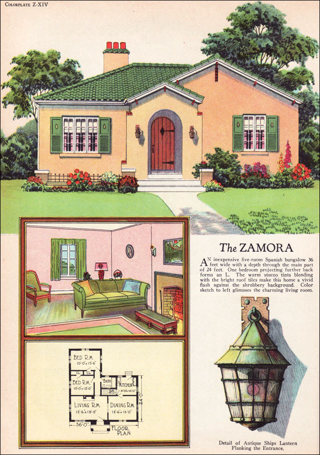 1927 radford zamora spanish eclectic style small house for Vintage bungalow house plans
