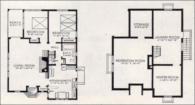 1937 better homes & gardens bildcost house plan no. 602 - board