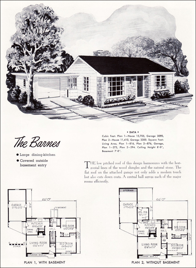 1952 barnes plan national plan service mid century for American small house design