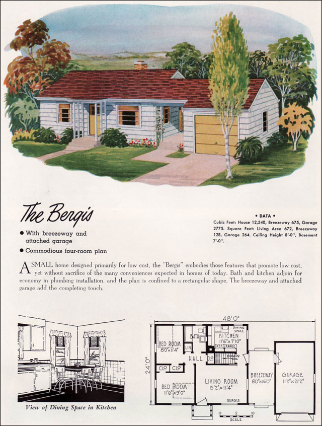 1952 national plan service mid century ranch small for Small mid century modern home plans